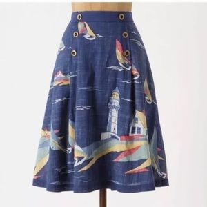 Anthropologie Odille 6 Sailboat Skirt